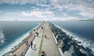 An artist's impression of the Swansea Bay tidal lagoon scheme.