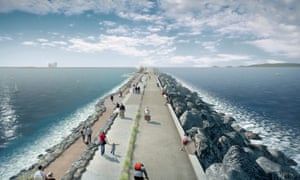 Tidal Lagoon Power's visualisation of the wall at Swansea Bay, part of a proposed £1.3bn clean energy tidal lagoon scheme.
