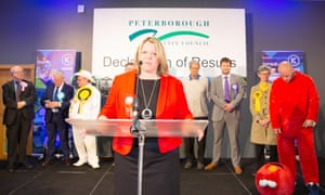 Lisa Forbes gives her victory speech after winning the Peterborough byelection