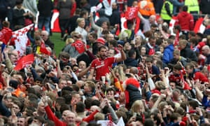 Middlesbrough goalscorer Cristhian Stuani on the shoulders of fans during the celebrations that followed the final whistle.