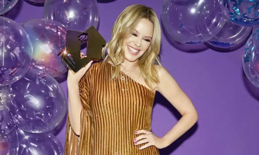 Kylie Minogue celebrating Disco reaching No 1.