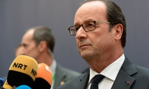Francois Hollande, the French president, speaking to journalists as he arrives at the EU summit.