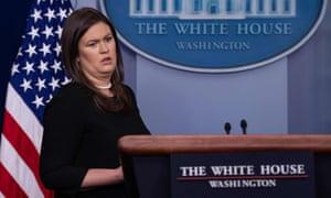 Sarah Sanders at the White House on Thursday.