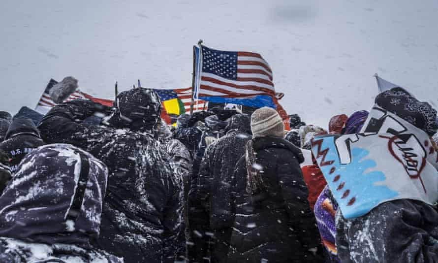 Activists, known as 'water protectors', at the Standing Rock camp. The Trump administration has brought a sharp reversal of the Obama administrations's decision to halt the pipeline.