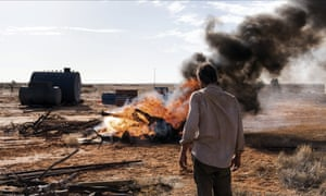 Guy Pearce in The Rover (2014), set in the post-apocalyptic Australian outback.