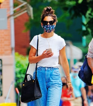 Katie Holmes wearing a face mask in New York