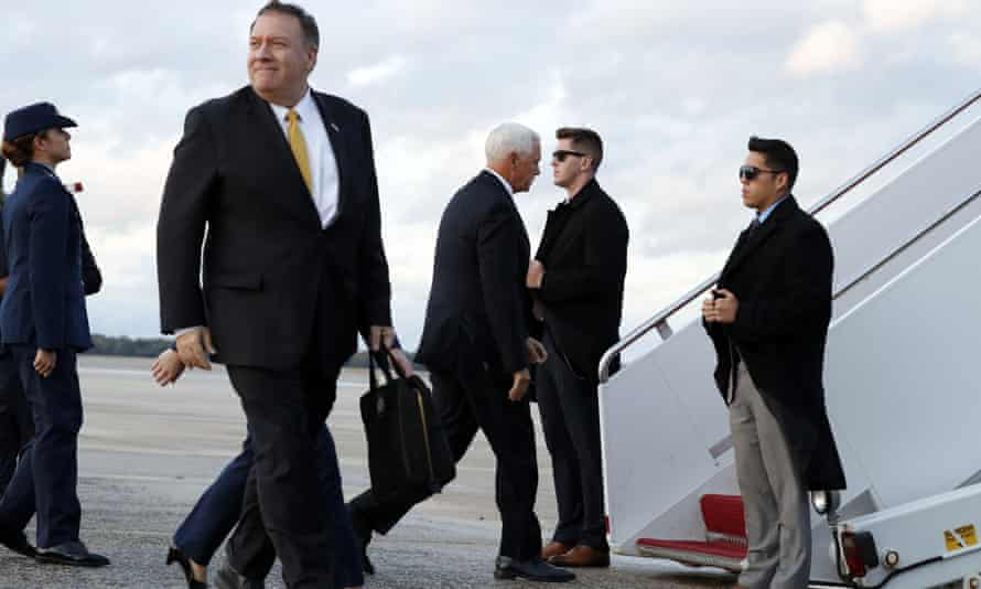 Pompeo and the vice-president, Mike Pence, board separate planes on their way to Turkey on Wednesday.