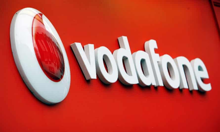 Vodafone logo on a mobile phone shop