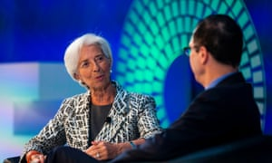 IMF Managing Director Christine Lagarde and United States Treasury Secretary Steven Mnuchin hold a conversation on the US Economy at the World Bank IMF Spring Meetings April 22, 2017 in Washington, DC. / AFP PHOTO / ZACH GIBSONZACH GIBSON/AFP/Getty Images