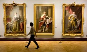Paintings inside the Scottish National Portrait Gallery in Edinburgh