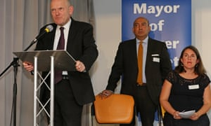 Tower Hamlets mayor John Biggs with Labour councillor colleagues Sirajul Islam and Rachel Blake