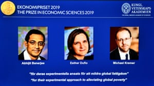 The portraits of Abhijit Banerjee, Esther Duflo, and Michael Kreme, who have won the Nobel Prize in Economic Sciences.