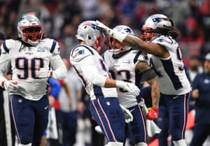 New England Patriots middle linebacker Kyle Van Noy (53) celebrates after sacking Los Angeles Rams quarterback Jared Goff (not pictured) during the second quarter in Super Bowl LIII at Mercedes-Benz Stadium.