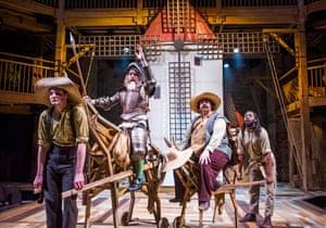 Theo Fraser Steele (Rosinante-Horse), David Threlfall (Don Quixote), Rufus Hound (Sancho) and Natey Jones (Dapple-Donkey) in Don Quixote
