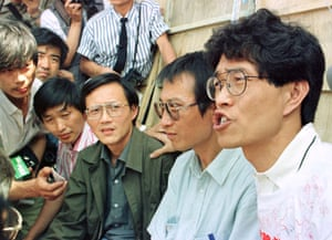 Liu Xiaobo (in blue shirt) and other pro-democracy activists during the students' hunger strike in Tiananmen Square, 1989.