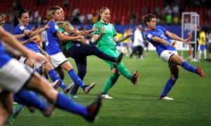 Cristiana Girelli (right) leads the celebrations after Italy topped Group C on goal difference.