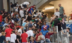 Supporters clash in the stands after the UEFA Euro 2016 group B preliminary round match between England and Russia.
