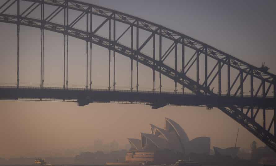 The Sydney Opera House shrouded in smoke haze on Tuesday morning.