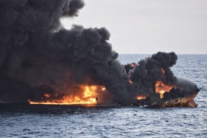 East China Sea The burning Iranian oil tanker Sanchi is seen partially sunk off eastern coast of China