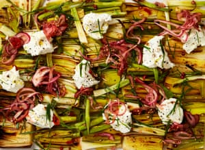 Grilled leeks and spring onions with whipped dolcelatte and pickled onions- just for starters.
