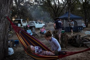 The Griffiths family of Sunbury camping on the Murray River