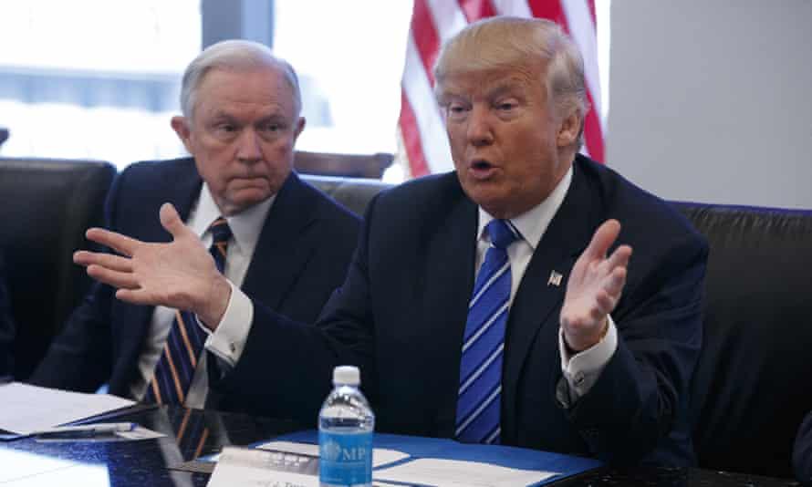 Jeff Sessions alongside Donald Trump