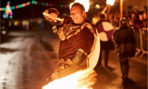 A smiling Viking at Flamborough New Year's Eve fire festival