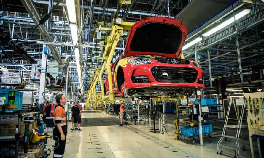 The last Holden Commodore vehicle rolling off the production line at the Holden plant in Elizabeth, Adelaide, in 2017. General Motors says it will 'retire' the brand in 2021.