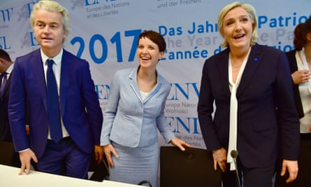 Frauke Petry, centre, the AfD co-leader, with the rightwing Dutch politician Geert Wilders and Marine Le Pen, leader of France's Front National.