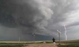 Lightning strike over flat landscape