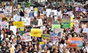 Thousands of students attend the global climate strike rally at Town Hall in Sydney, Australia, in March.