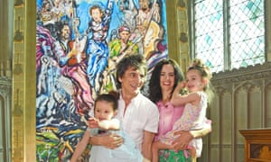 Ronnie Wood and Sally Wood pose with twins Alice and Gracie.