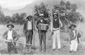 South Sea Islanders at a garden party near Mackay, Queensland. Photographer unknown