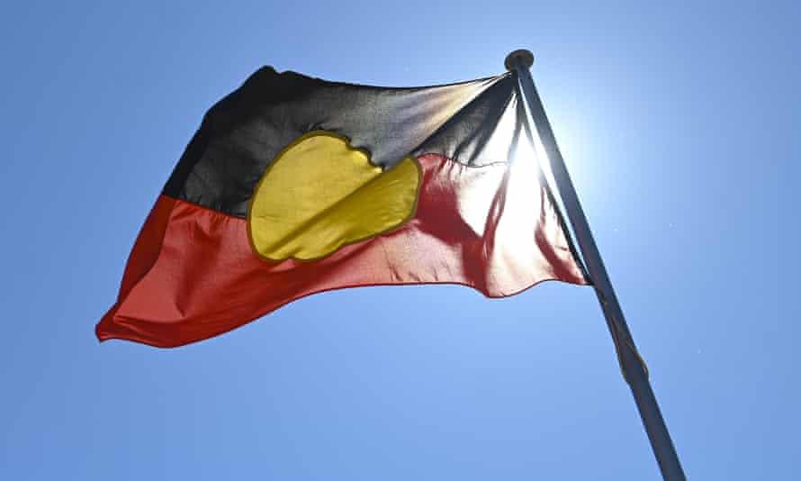 An Australian Aboriginal flag is seen in Canberra, September 15, 2020.