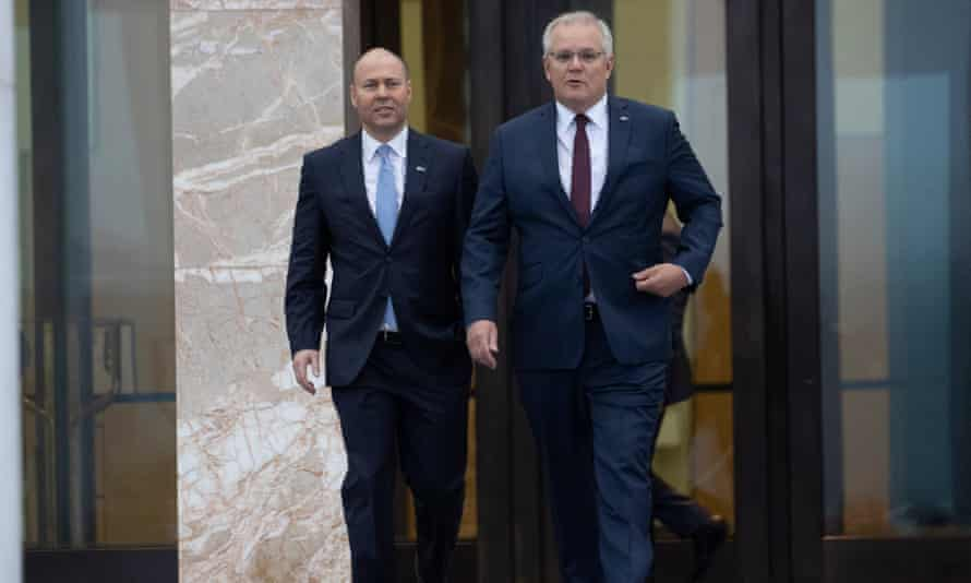 File photo of Josh Frydenberg and Scott Morrison out the front of Parliament House in Canberra