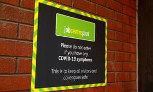Covid sign at a Jobcentre Plus