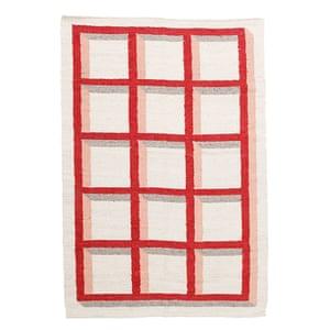 grid patterned rug, red, cream