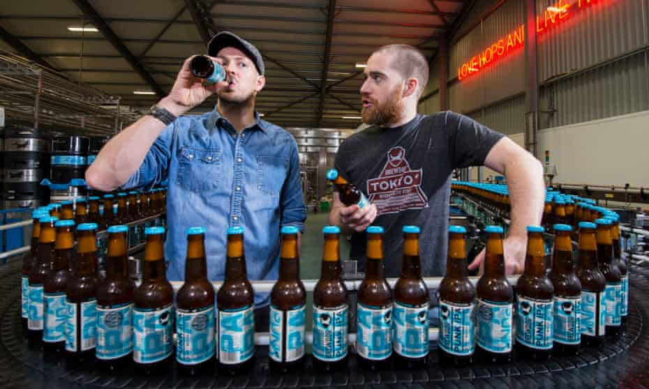 James Watt and Martin Dickie, the founders of Brewdog, at their new brewery in Ellon, Aberdeenshire