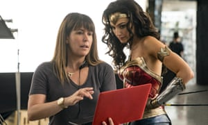 Patty Jenkins and actor Gal Gadot on the set of Wonder Woman 1984.