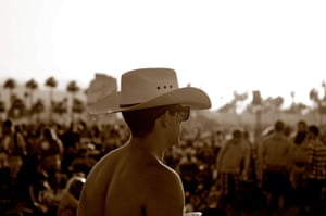 A man attends the 2016 Stagecoach country music festival at the Empire polo club in Indio, near Palm Springs.
