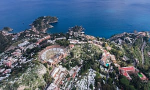 View of Taormina from drone