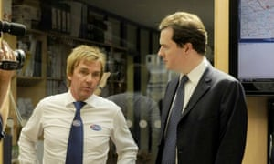 Mullins and George Osborne at the Pimlico Plumbers offices in Lambeth.