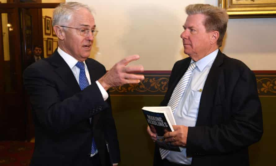 Malcolm Turnbull and the former editor of the Australian Chris Mitchell at the launch of Mitchell's book Making Headlines at state parliament