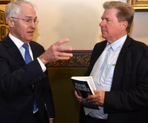 Malcolm Turnbull with Chris Mitchell at the launch of Mitchell's memoir, Making Headlines