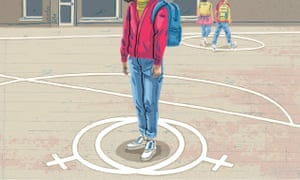 An illustration of a girl, from the neck down, standing in the circle of two 'women' symbols in a playground