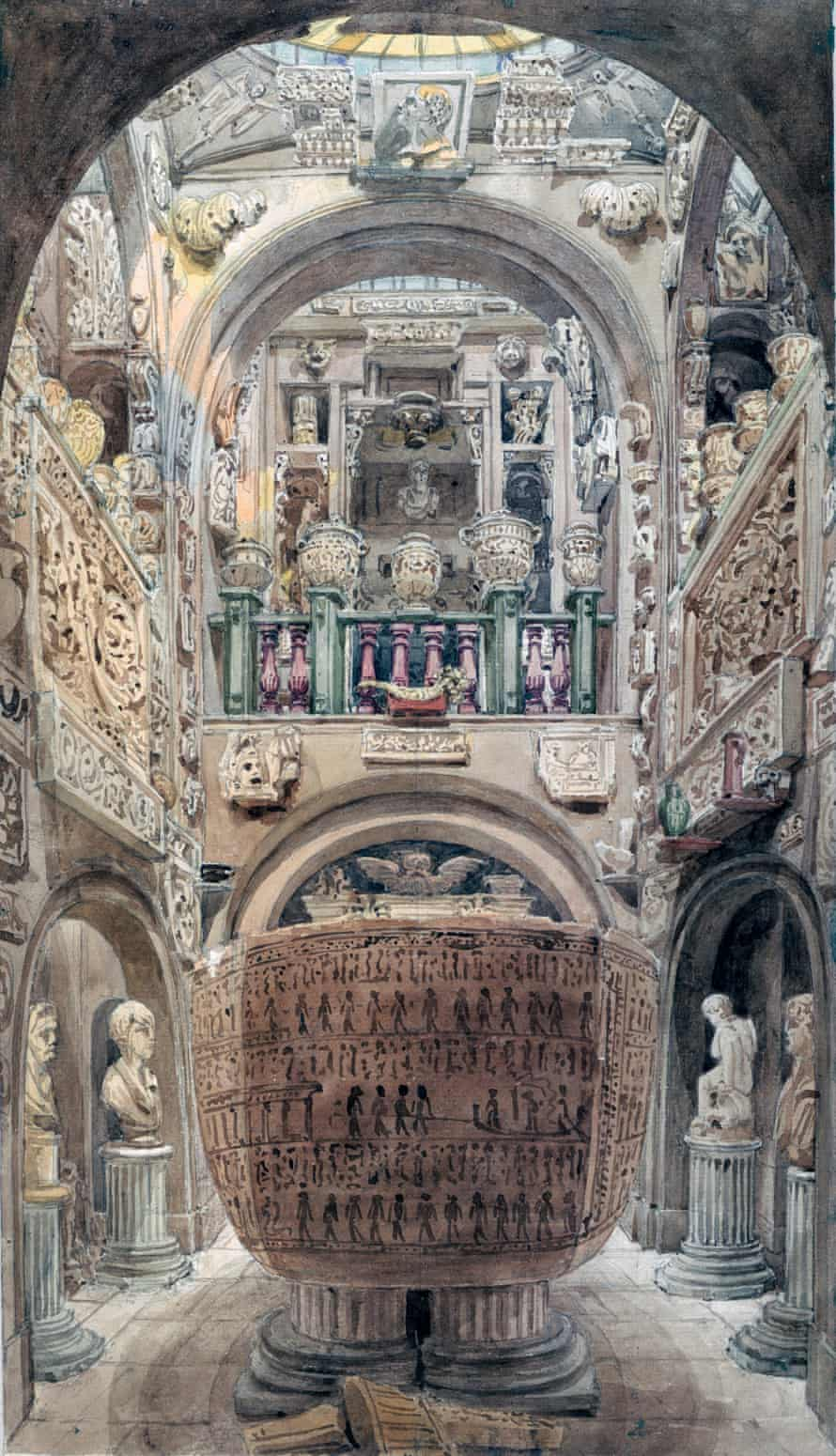 An illustraion of 'the Sepulchral Chamber' at Sir John Soane's house, viewed from the head of the sarcophagus, 8 September 1825.