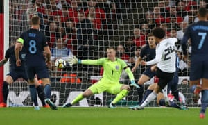 Jordan Pickford kept England in the game with saves from Leroy Sané and Timo Werner.