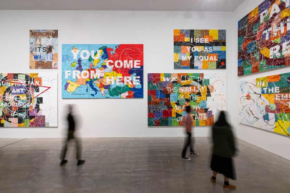 Installation view of You Can Go Now, a Richard Bell retrospective at the MCA in Sydney.