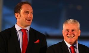 Alun Wyn Jones and Warren Gatland enjoy the reception in Cardiff Bay.