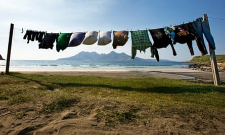 a washing line on the beach on the Isle of Eigg